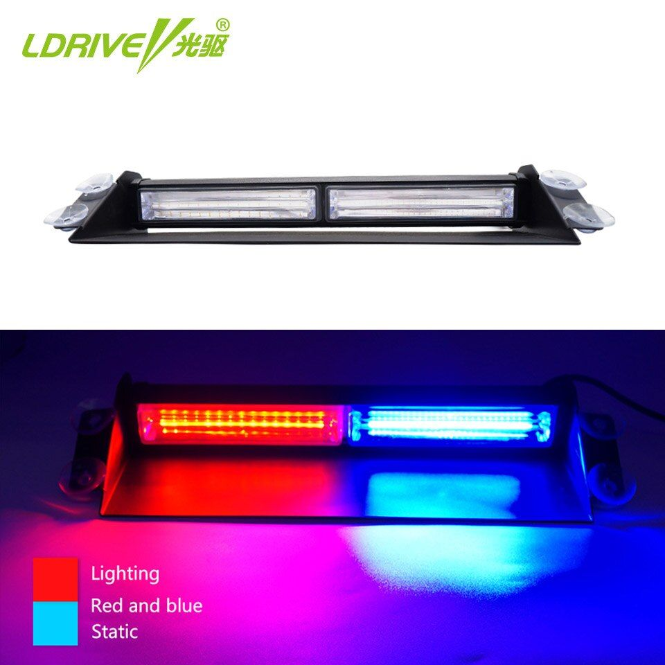LDRIVE 1PCS 36W 12V-24V Car Flash Light Red Blue LED COB Car Windscreen Warning Light Police Emergency Flasher Strobe Lamp