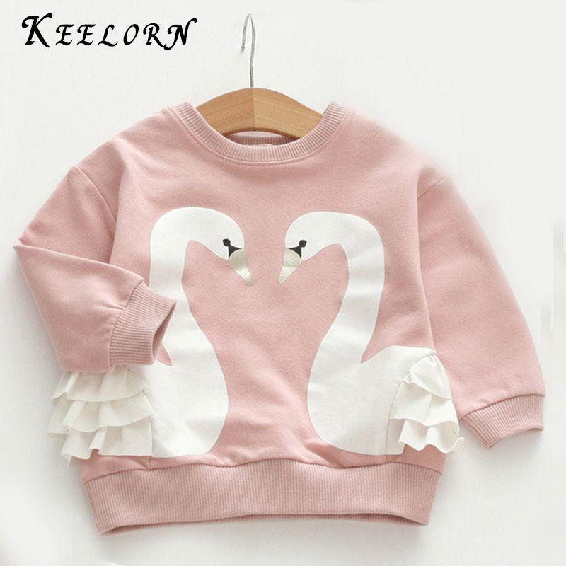 Keelorn дети Футболки для женщин осень 2017 г. брендовая одежда для маленьких девочек Обувь для девочек Футболка с рисунком птицы печати Рубашки ...