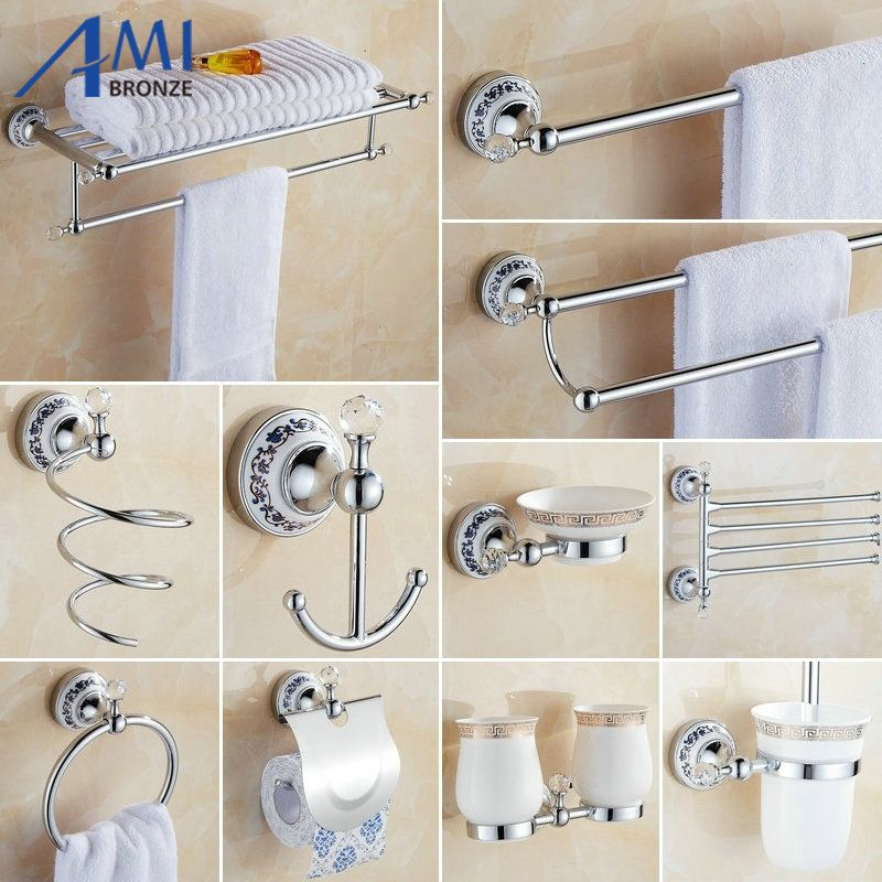 81CCP Series Chrome Polished Crystal & Porcelain Bathroom accessories Bath Hardware Set Towel Shelf Towel Bar Paper Holder Hook