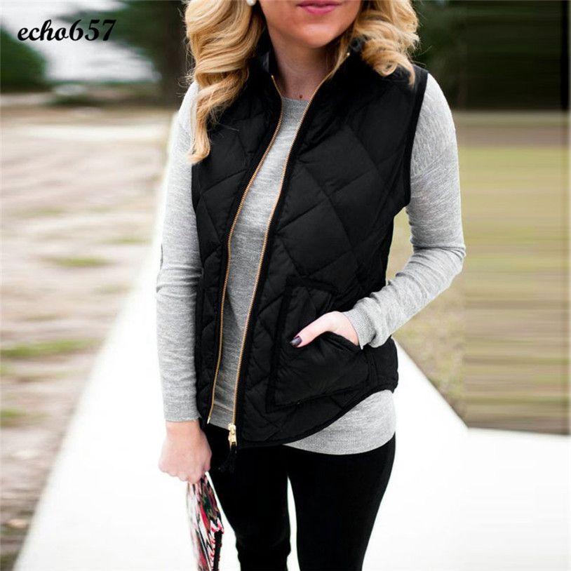 Fashion Women Coat Echo657 Hot Sale Fashion Women Lady Black Pocket Coat Sleeveless Vests Outwear Waistcoat Dec 2