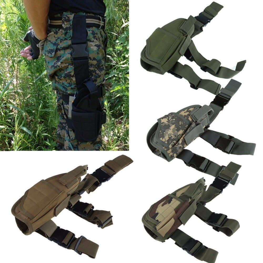 2018 Adjustabl Tactical Pistol Drop Leg Thigh Holster w/ Mag Pouch Right Hand Outdoor Tactical Pouch with Adjustable Magic Strap