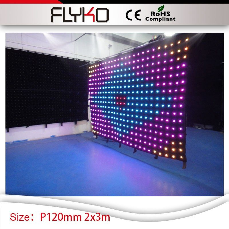 Charming color free shipping P120mm 2*3m bar background decoration led video 3in1 colorful curtain