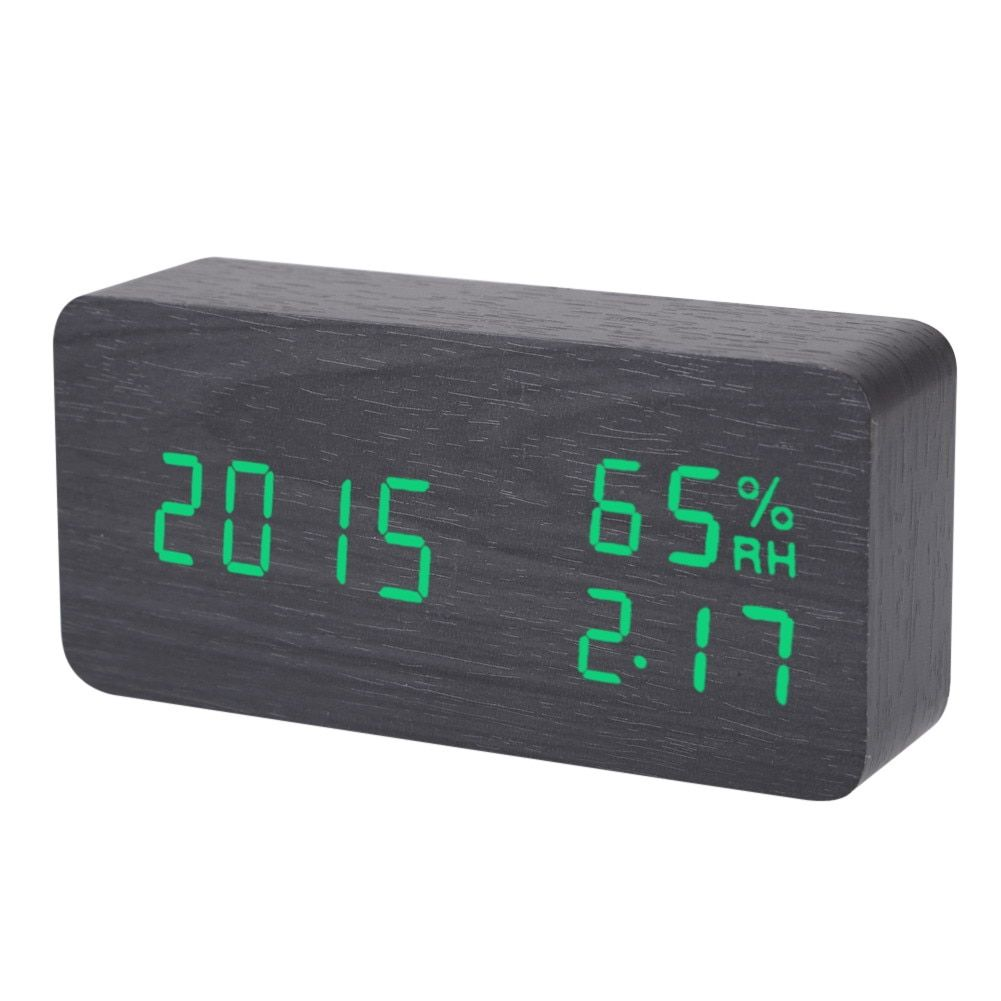 Electronic LED Alarm Clock Sound Voice Control Light Digital LED Time Humidity Display Wooden Desk Alarm Clock