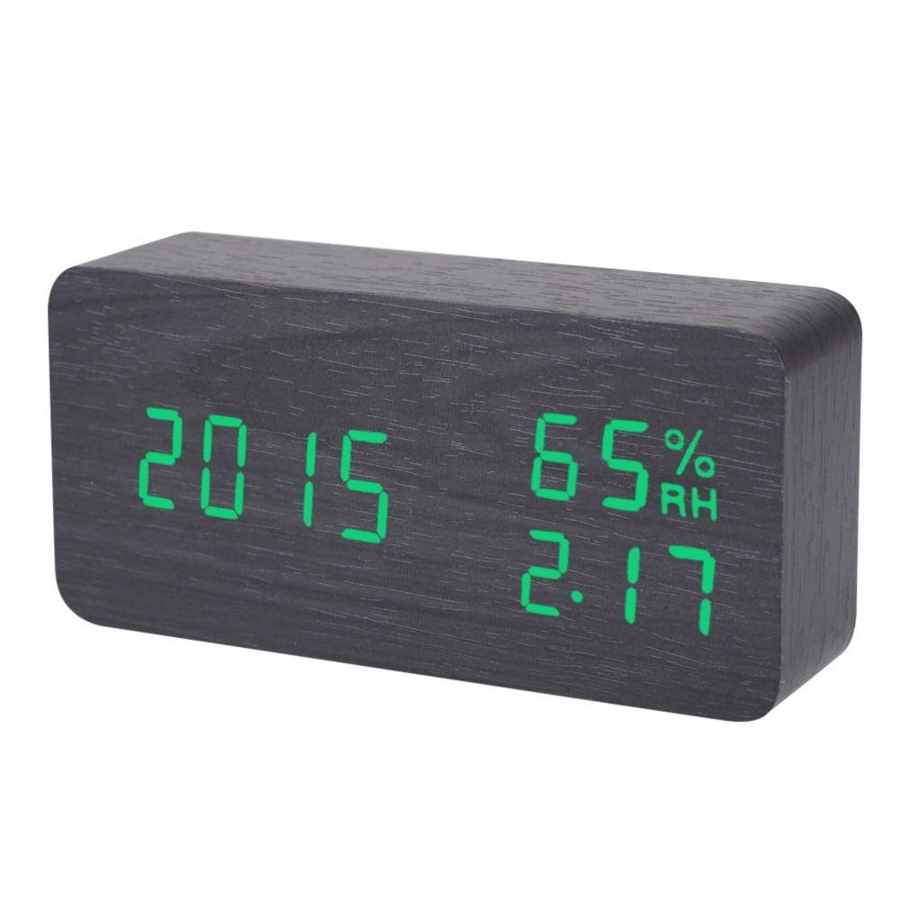 Electronic LED Alarm Clock Sound Voice Control <font><b>Light</b></font> Digital LED Time Humidity Display Wooden Desk Alarm Clock