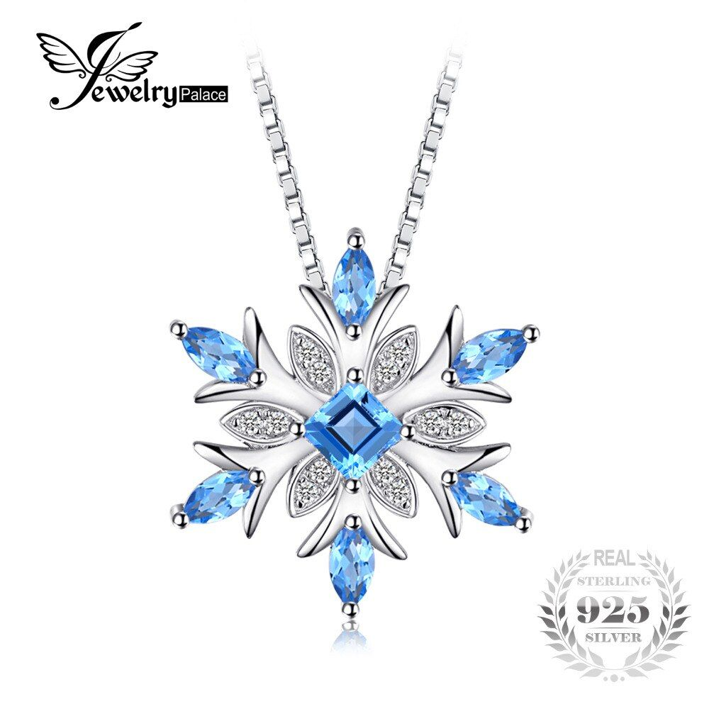 JewelryPalace Snowflake Genuine Swis Blue Topaz Solid 925 Sterling Silver Pendant Fine Jewelry for women Not Include the Chain