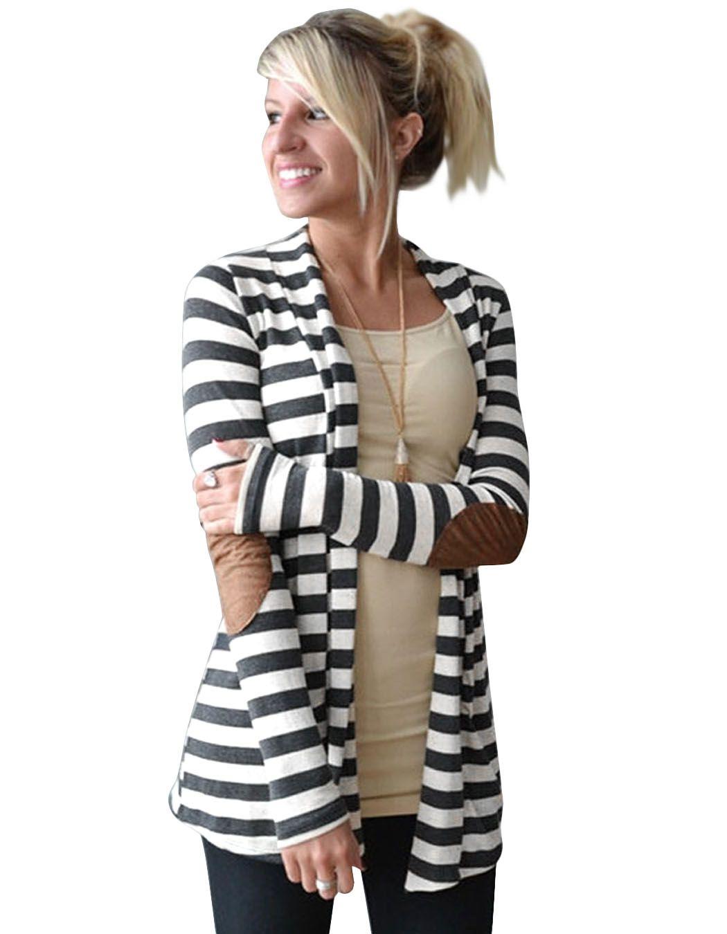 2017 Del Otoño Del Resorte Chaquetas de Punto A Rayas Patrón de Impresión Ocasional Larga de Las Mujeres Suéteres Sueltos de Punto Caliente de Manga Larga Outwears Calientes #30