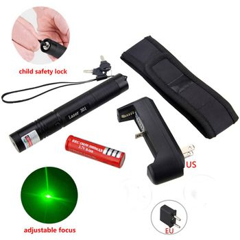 Powerful 5MW Red Green Purple Lazer Pen Light Military Adjustable Focus Laser Pointer with 18650 Battery Charger