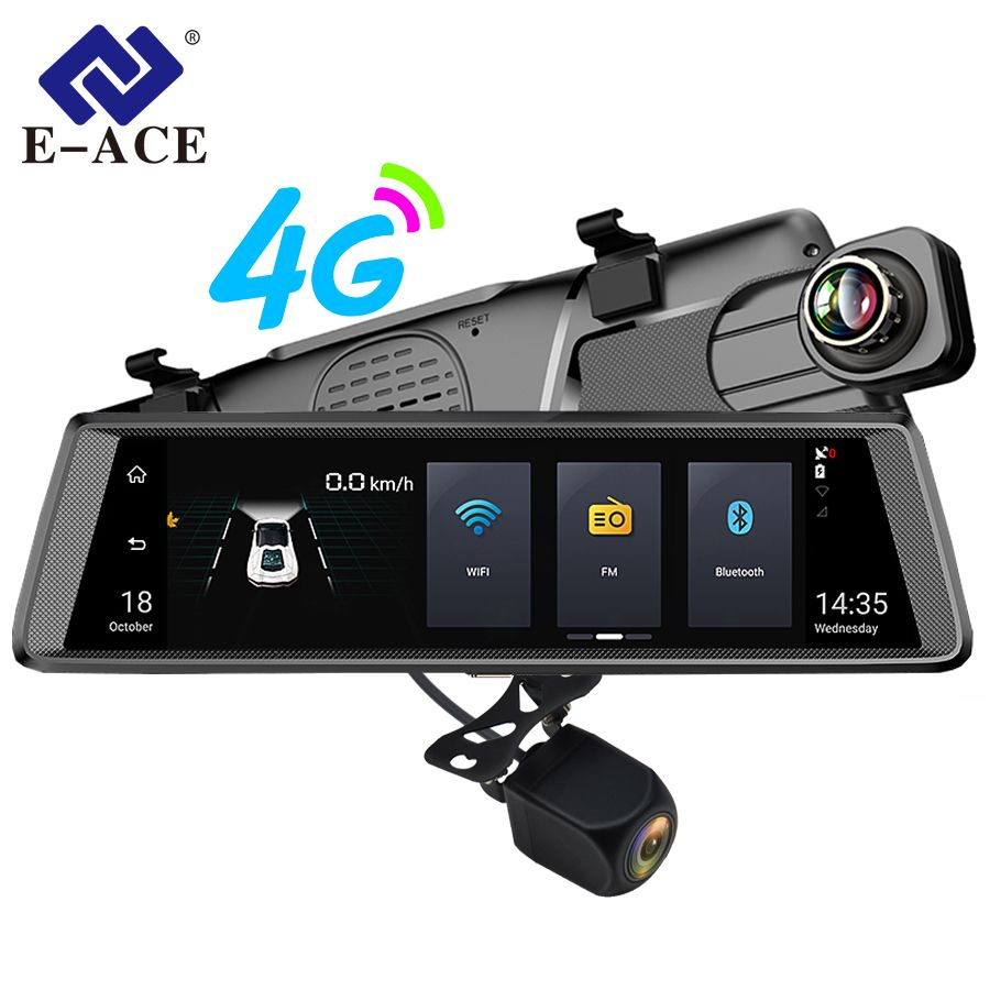 E-ACE 4G Car Dvr Mirror Camera 10 Inch Android Dual Lens FHD 1080P ADAS Video Recorder Night Vision GPS Navigation Dashcam