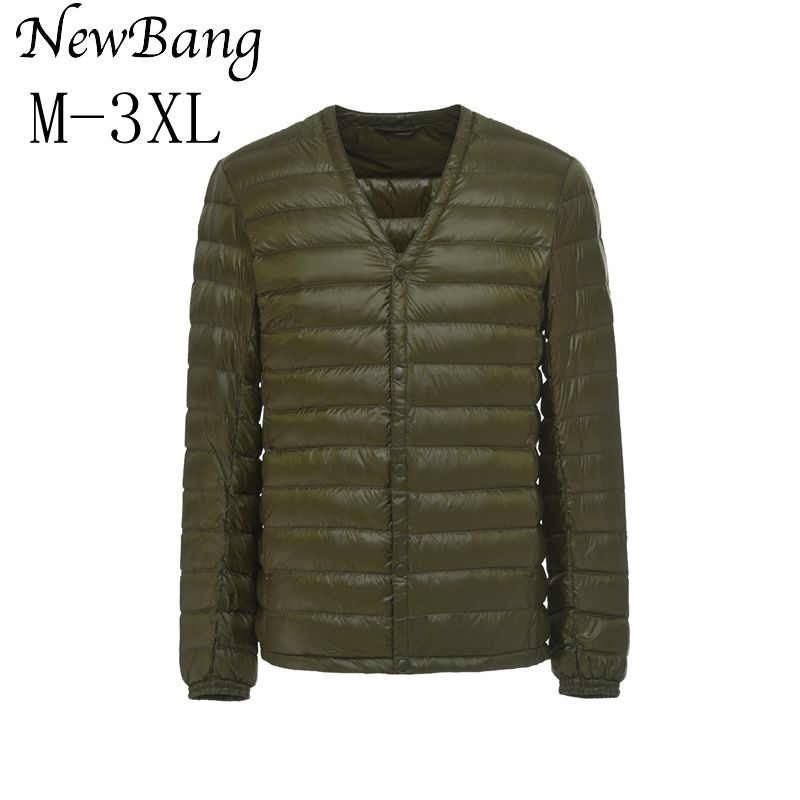NewBang Brand Men's Down Jacket Ultra Light Down Jacket Men Slim Windproof Portable V Neck Lightweight Coat Warm Liner