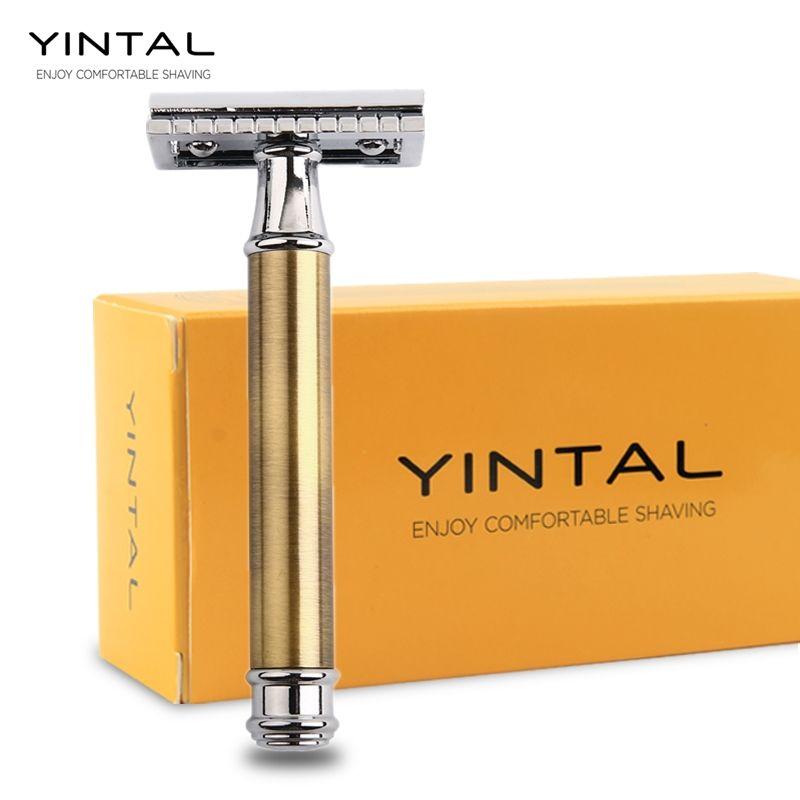 YINTAL Rasoirs Pour Rasage Hommes Lame Remplaçable Bronze Style Poignée En Laiton Double Edge Safety Razor 1 Rasoir Simple emballage