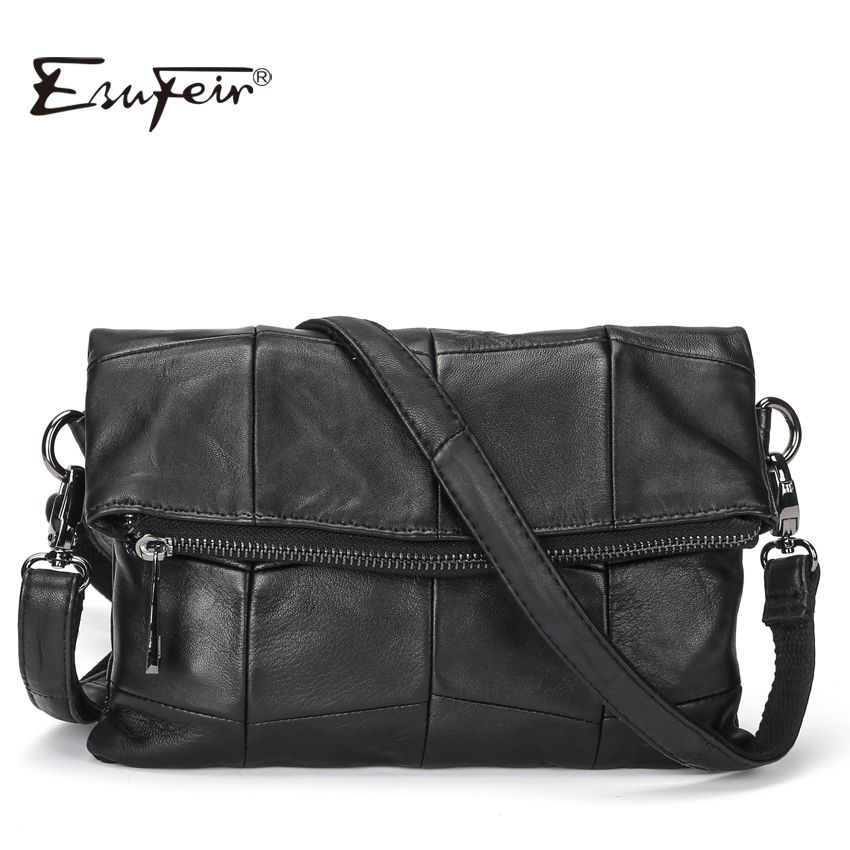 2017 ESUFEIR Brand Genuine Leather Women Messenger Bag Patchwork Sheepskin Leather Shoulder Bag Women Crossbody Bag daily Clutch