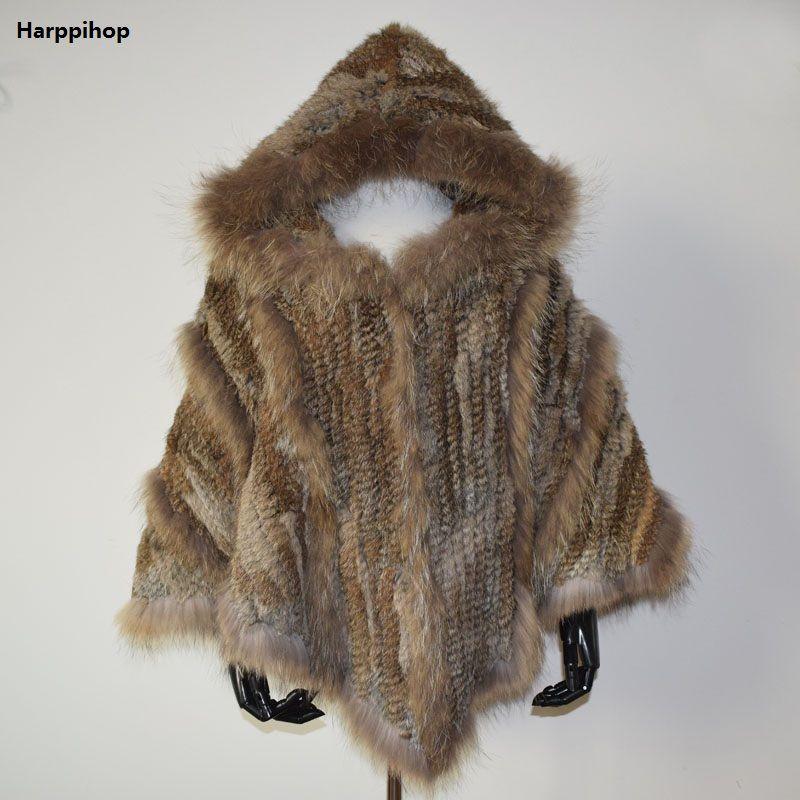 Harppihop New fashion women Genuine Knitting Rabbit Fur Poncho Raccoon Fur Collar Shawl With Hood brazil russia hot sell
