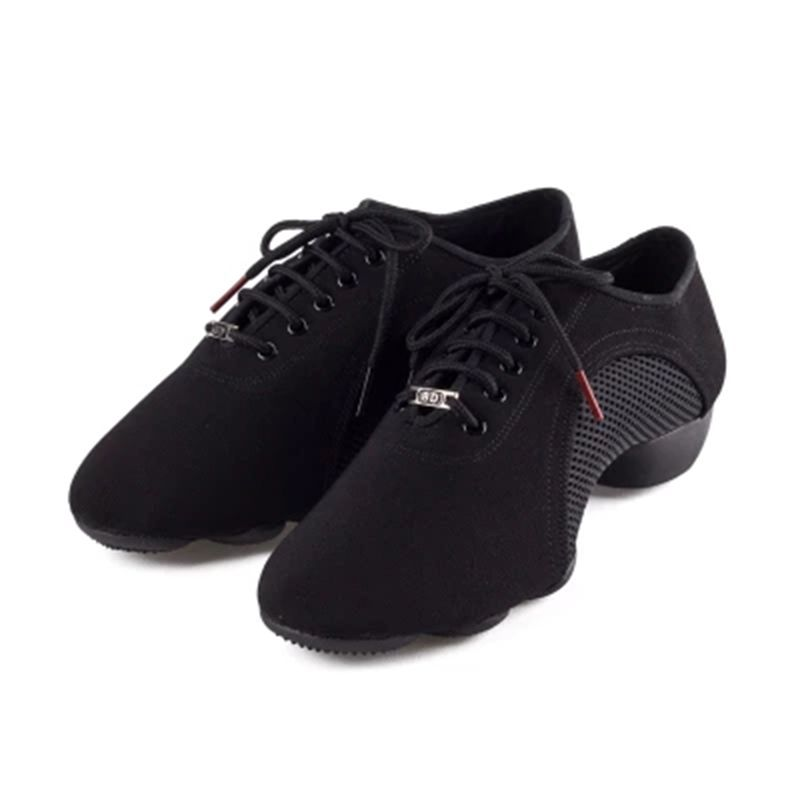 High-end genuine BD Latin Dance shoes Oxford cloth Net surface Men women jazz shoes Teacher shoes Modern dance shoes Black JW-1