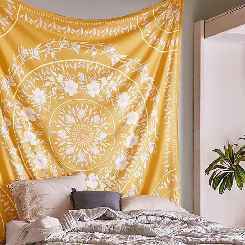 Indien Mandala tapisserie Tai Chi tenture murale tapisseries Hippie bohème noir brun décoratif mur tapis Yoga tapis