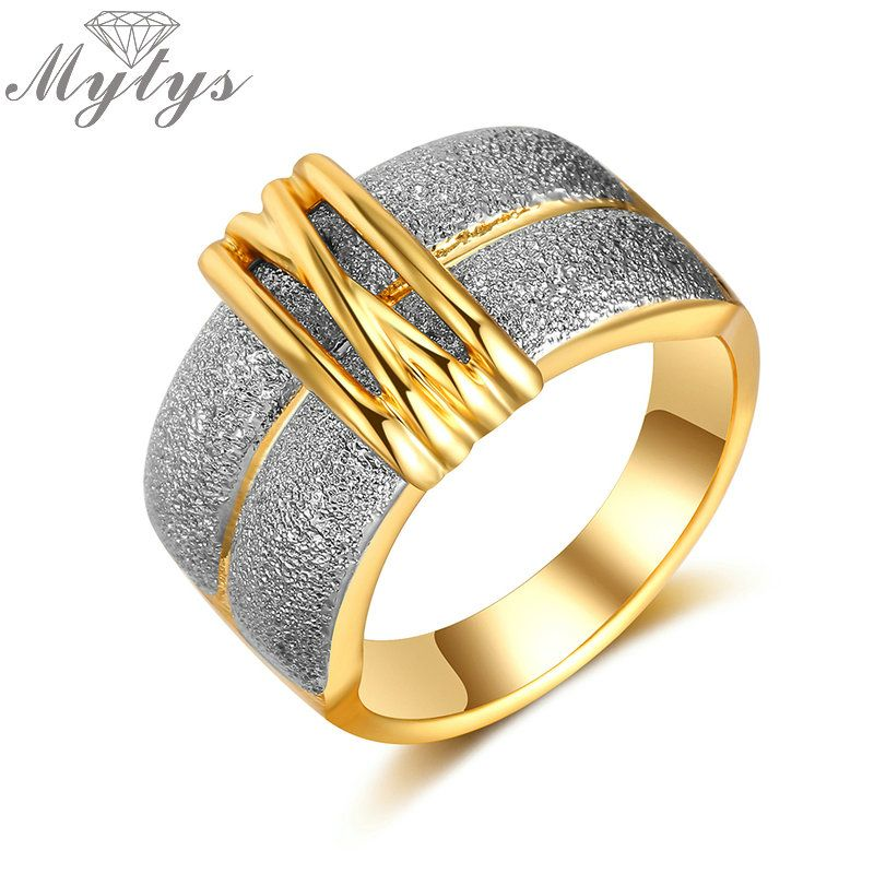 Mytys Trendy Fashion Gold Color and Silver Color GP Lady Rings Two Tone Gold Factory Directly Sale Wholesale Price Jewelry R1926