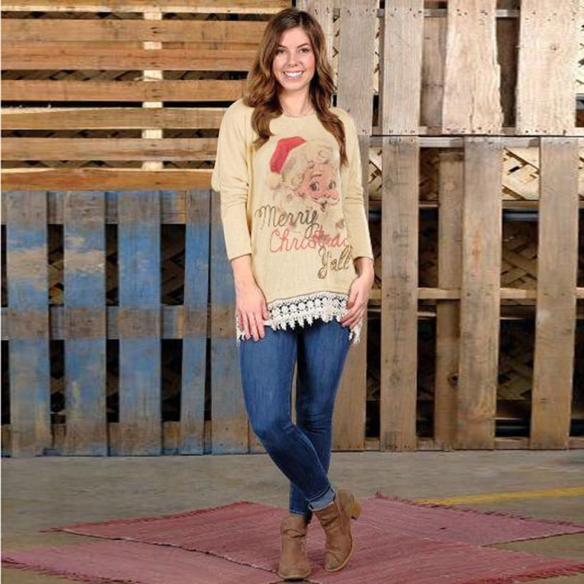 MUQGEW Popular Style  Merry Christmas Popular Style Fancinating Polos Women Letter Lace Christmas Tops Long Sleeve Tops