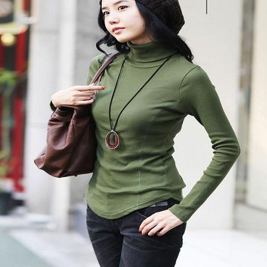 Femmes automne hiver Slim Lady grande taille à manches longues col roulé chemise femme tricoté couverture Stretch chaud pull pull