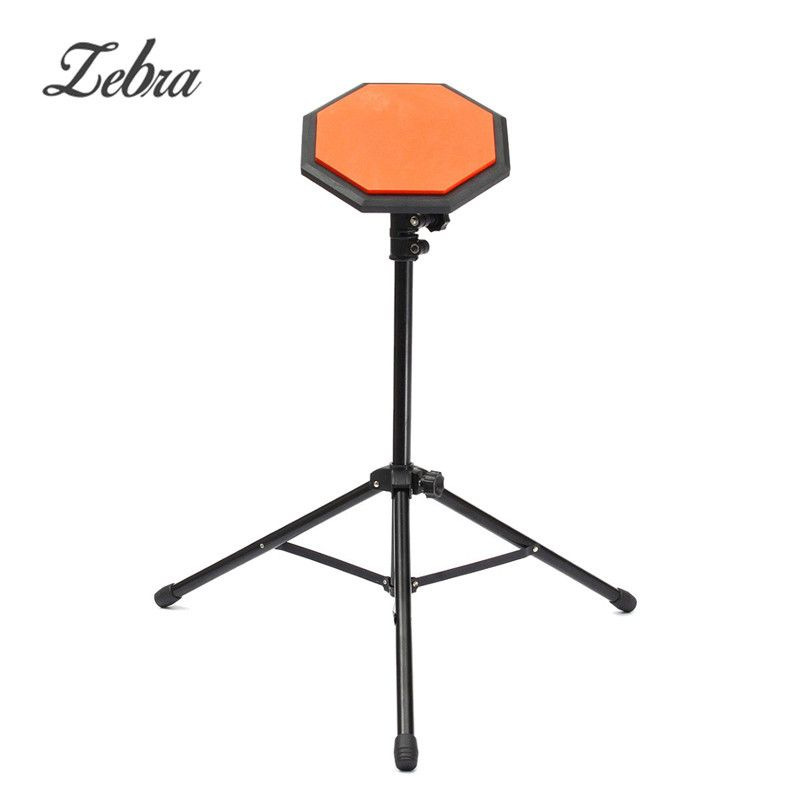 8inches Metal+Rubber Dumb Drum Drummer Exercise Training Pad Percussion Instruments for Beginners with Adjustable Holder Stand