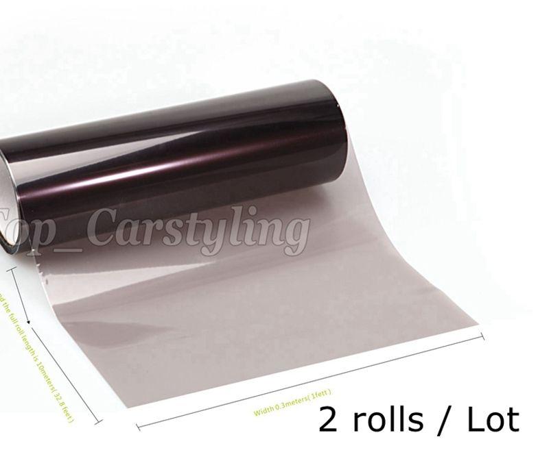 2 Roll / Lot Headlight tint film light black smoke rear car lights tinting Tail lights tint size 0.3x10m/Roll PROTWRAPS