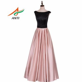 ANTI Fashion Sashes beading Evening Dress Long Pink and Black Satin Beading Evening Gowns High-quality Draped Party Dresses