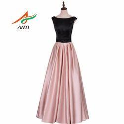 Anti Fashion Ikat Pinggang Manik-manik Gaun Malam Panjang Berwarna Merah Muda dan Hitam Satin Manik-manik Gaun Malam Berkualitas Tinggi Terbungkus Gaun Pesta