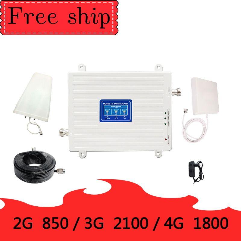 70dB Gain 2g 3g 4g Tri Band Signal Booster 850 1800 2100 CDMA WCDMA UMTS LTE Cellular repeater 850/1800/2100mhz Verstärker