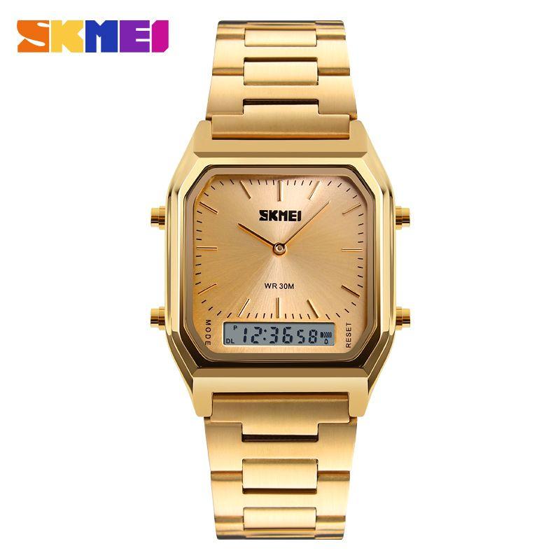SKMEI Men Fashion Casual Quartz Wristwatches Digital Dual Time Sports Watches Chronograph <font><b>Waterproof</b></font> Relogio Masculino 1220