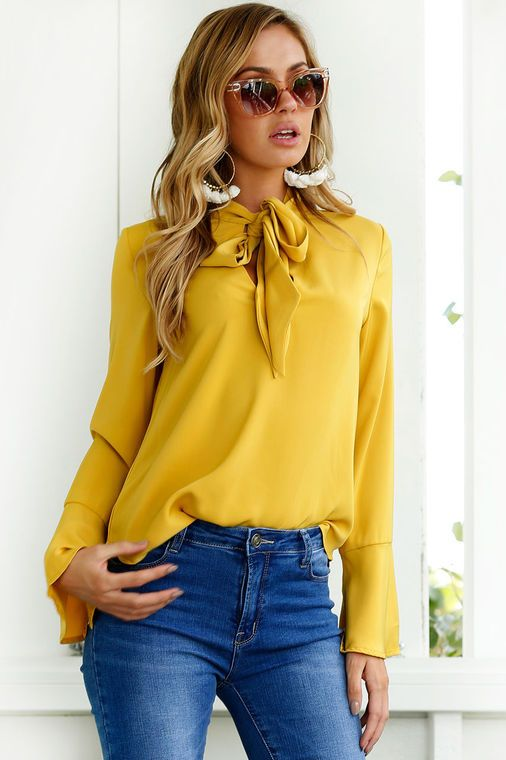 Blusas Femininas 2017 New Casual Chiffon Blouse Shirt Yellow Pink Black Office Women color bow Long sleeves Blouse Tops