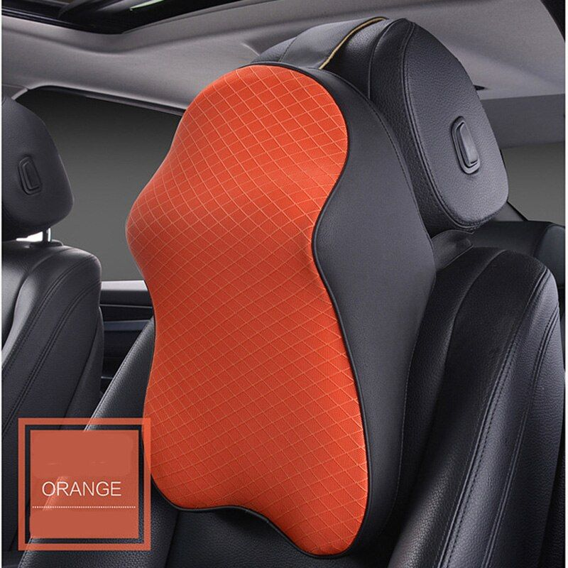 3D Spare Car Headrest Pillow Leather Ice Silk Automobile Neck Rest Waist Supports Cushion For Auto <font><b>Seat</b></font> Cover Accessories