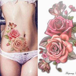 Красота 1 шт Косметика поддельные временные татуировки наклейки розовыми цветами татуировка на руку, плечо водонепроницаемые женские боль...