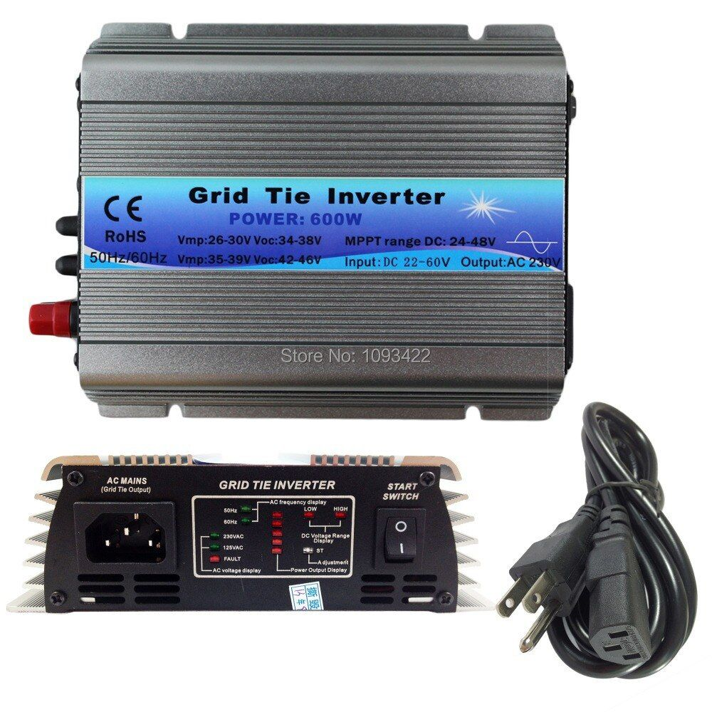 600W Grid Tie Inverter MPPT Function 22-60VDC input 110V 230VAC Micro Grid Tie Pure Sine Wave Inverter 22V 60V to 110V 220V