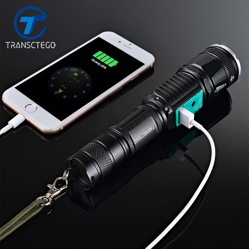 La police militaire utilise une lampe de poche étanche T6 longue portée lumière à LED rechargeable torche de chasse torche tactique 18650