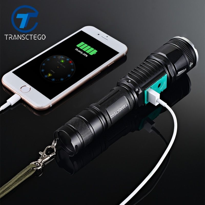 military police use flashlight waterproof T6 long range rechargeable LED light riding hunting torch tactical flashlight 18650