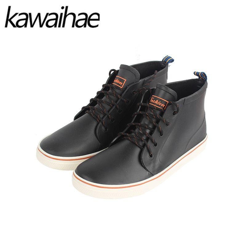 Zapatos de goma Botas de Lluvia Botas de Hombre Cómodo Hombre Negro Impermeable Punta Redonda botines marca Kawaihae 2017