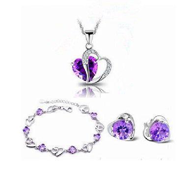 Новый 2016 сердце дизайн стерлингового серебра 925 серьги Фиолетовый Кристалл ожерелья и кулоны 45 см