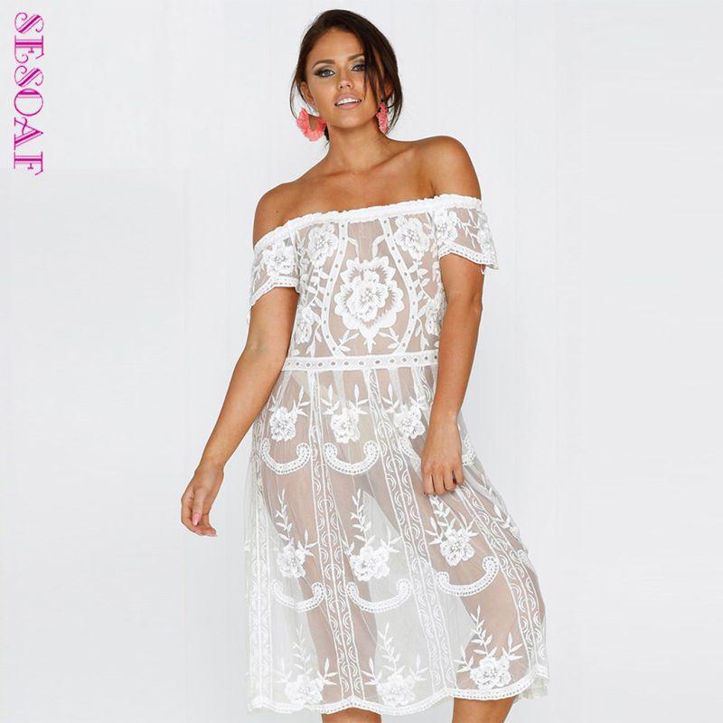 Nouveauté été Chic femmes Sexy Floral dentelle robe évider dentelle robe hors épaule dentelle robe Vestidos
