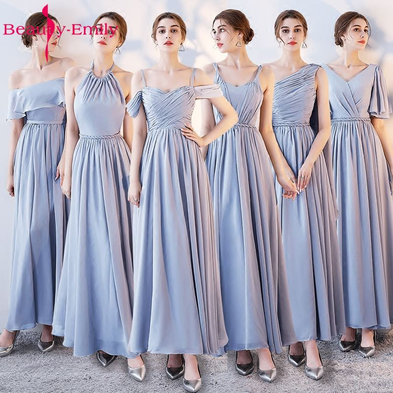 Beauty Emily Light Grey Bridesmaid Dresses 2018 A-line Sweetheart Women Formal Wedding Party Gowns Floor-Length Party Prom Dress