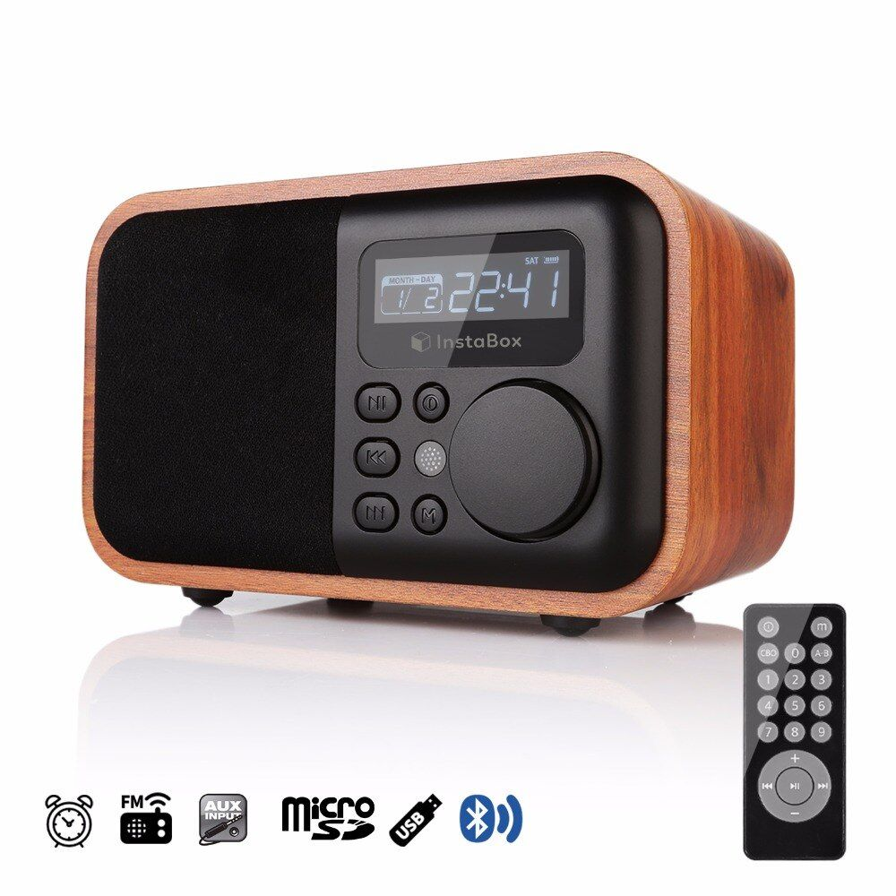 FM Radio Wooden Digital Multi Functional Speaker Bluetooth Alarm MP3 Player Micro SD/TF Card USB Remote Controller