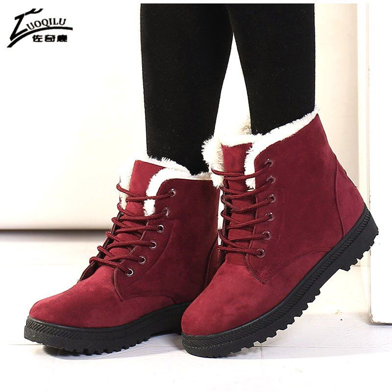 Australie hiver femmes bottes fourrure en peluche Faux daim bottes de neige chaud hiver chaussures bottines pour botines mujer 2019