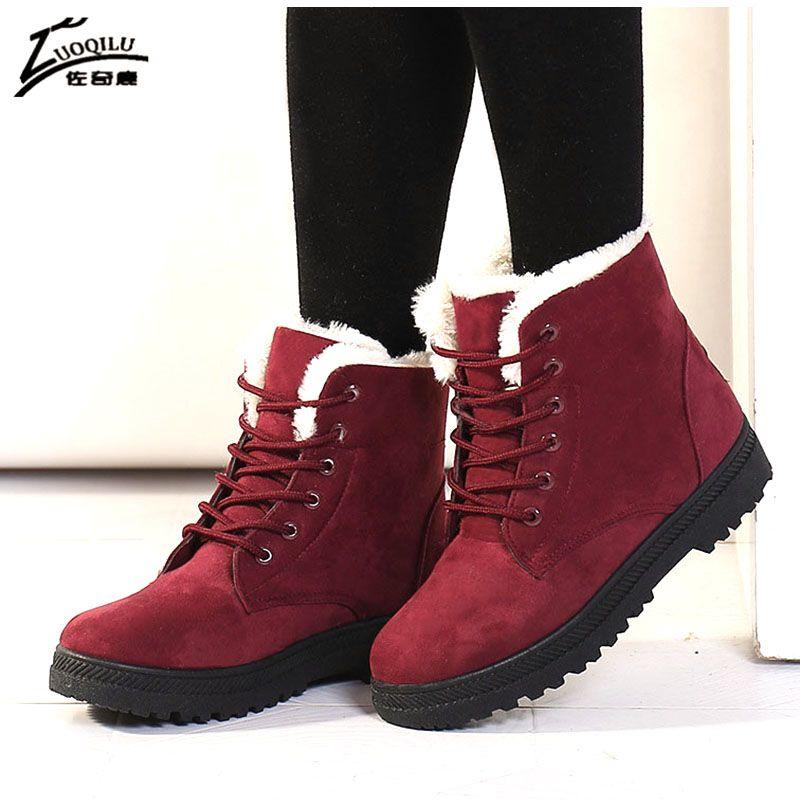Botas Mujer 2019 femmes bottes daim neige hiver bottes femmes chaud cheville bottes hiver femmes chaussures chaud fourrure peluche bota feminina