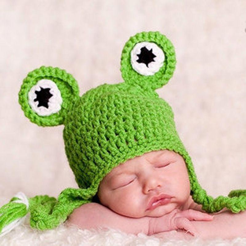Bebé Gorro de Lana Joker Sombrero Hecho Punto Lindo Bebé Recién Nacido Sombrero Del Niño Rana Sombrero Trenza Capó Gorros 0-3month Hecho A Mano accesorios de Fotografía