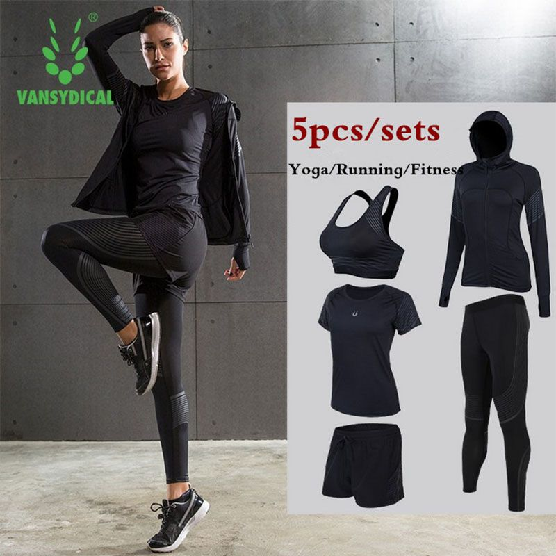 Women Yoga Running Suits Clothes Sports Set Jackets Shorts And Pants Bra Joggers Gym Fitness Compression Tights 5pcs/Sets