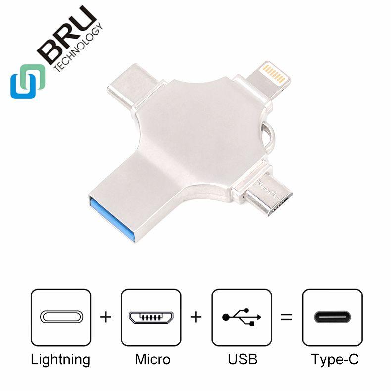 BRU 16G32G64G128G256GB OTG CLÉ USB pour iPhone 5/6 S/7 Plus/8X iPad Type-c android 4in1 clé USB clé USB Logo Personnalisé