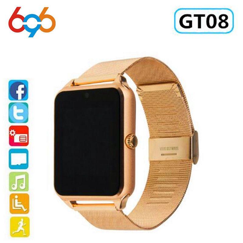 696 montre intelligente GT08 Plus bracelet en métal Bluetooth poignet Smartwatch Support Sim TF carte Android et IOS montre multi-langues PK S8 Z60