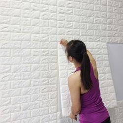 Self-Adhesive Wallpaper Pola Batu Bata 3D Stiker Dinding Tahan Air Crash Busa TK Soft Wallpaper Dinding Stiker