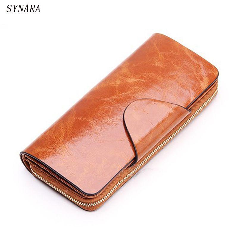 Offres spéciales première couche de peau de vache femme portefeuilles Zipper en cuir véritable Long Design amoureux hommes/femmes portefeuilles téléphone portable embrayage