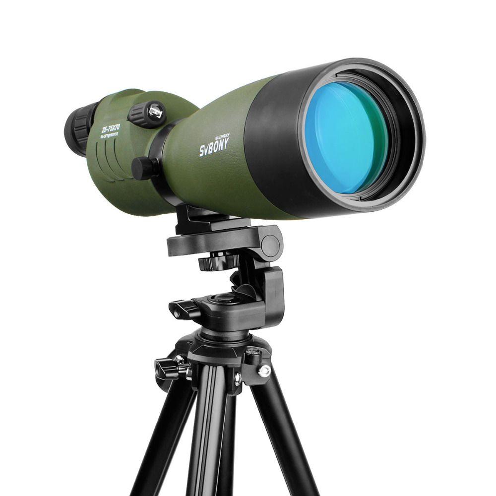SVBONY SV17 Spektiv 25-75x70mm Zoom Wasserdichte 180 De für Jagd Bogenschießen Teleskop Optik mit 54 ''Hohe Stativ F9326G