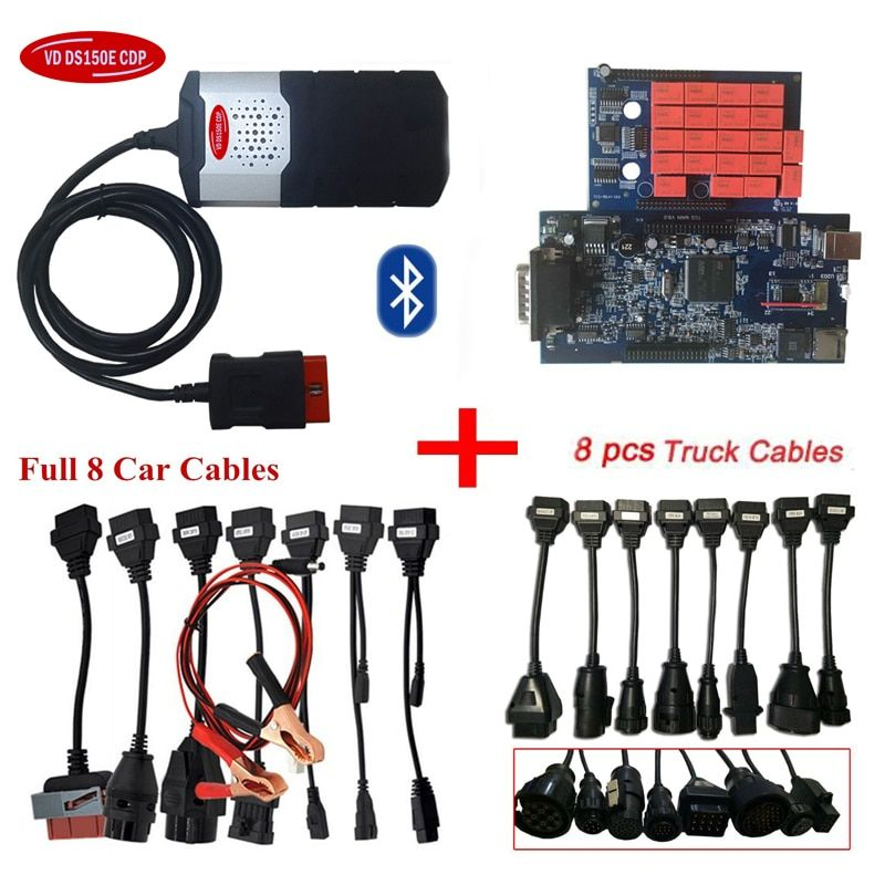 2018 new for delphis vd ds150e cdp 2016.R0 latest version with bluetooth obd scanner car diagnostic tool+full 8 car/truck cables