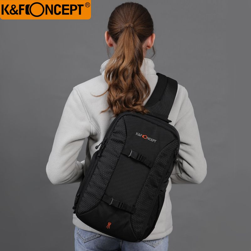 K&F CONCEPT Multifunctional DSLR Camera Backpack Casual Style Sling Messenger Travel Bag Hold for Tripod iPad + Rain Cover