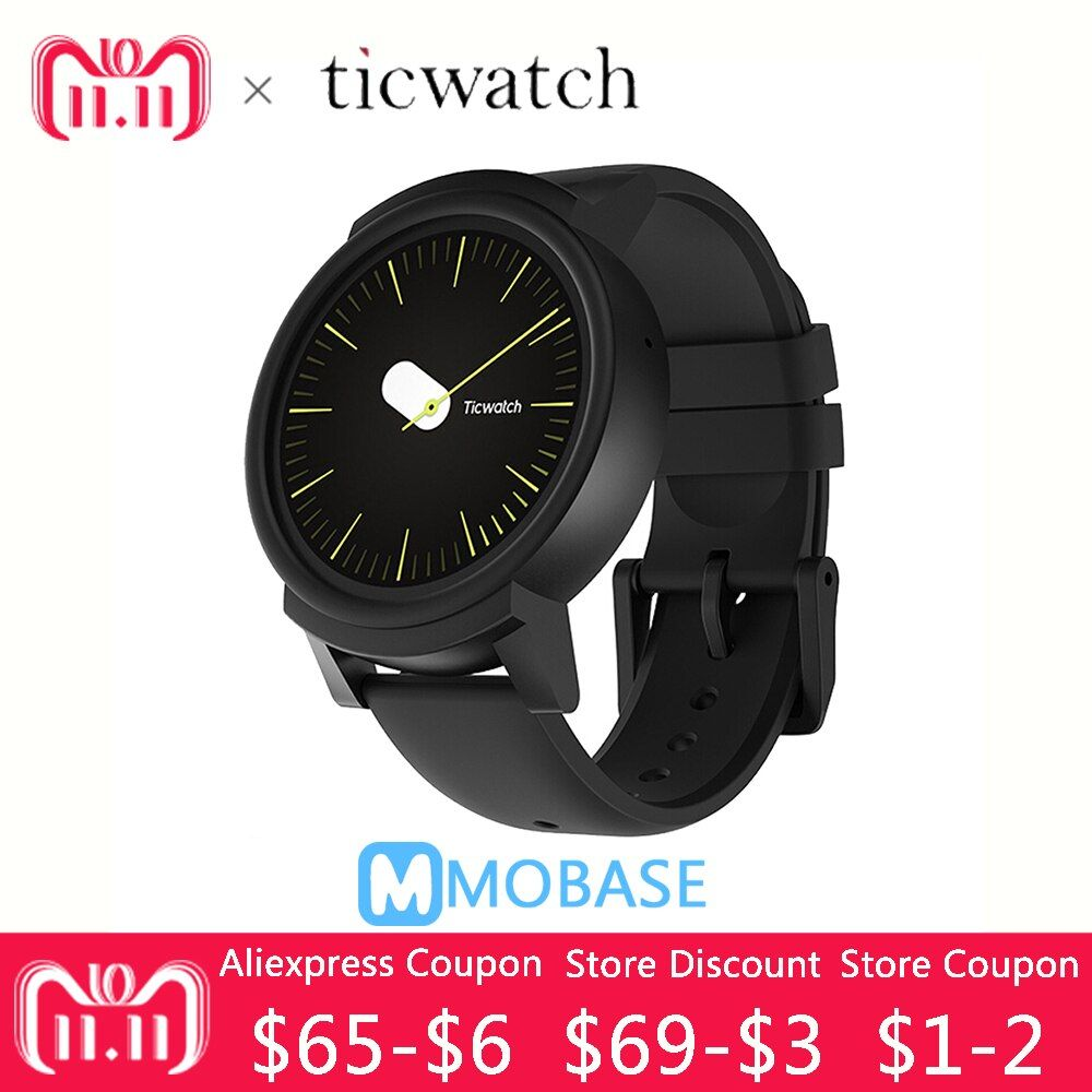 Original Ticwatch E GPS Sports Smart Watch Android Wear OS Heart Rate Monitor MT2601 Bluetooth 4G ROM WIFI Music IP67 Waterproof